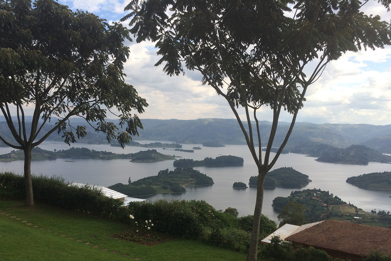 Spotted islands on Lake Bunyonyi, Uganda.