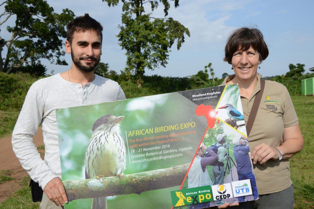 Thibault & Lesley at African birding expo Uganda