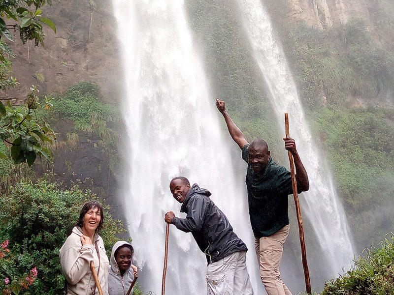 Venture Uganda staff hiking Sipi Falls Uganda