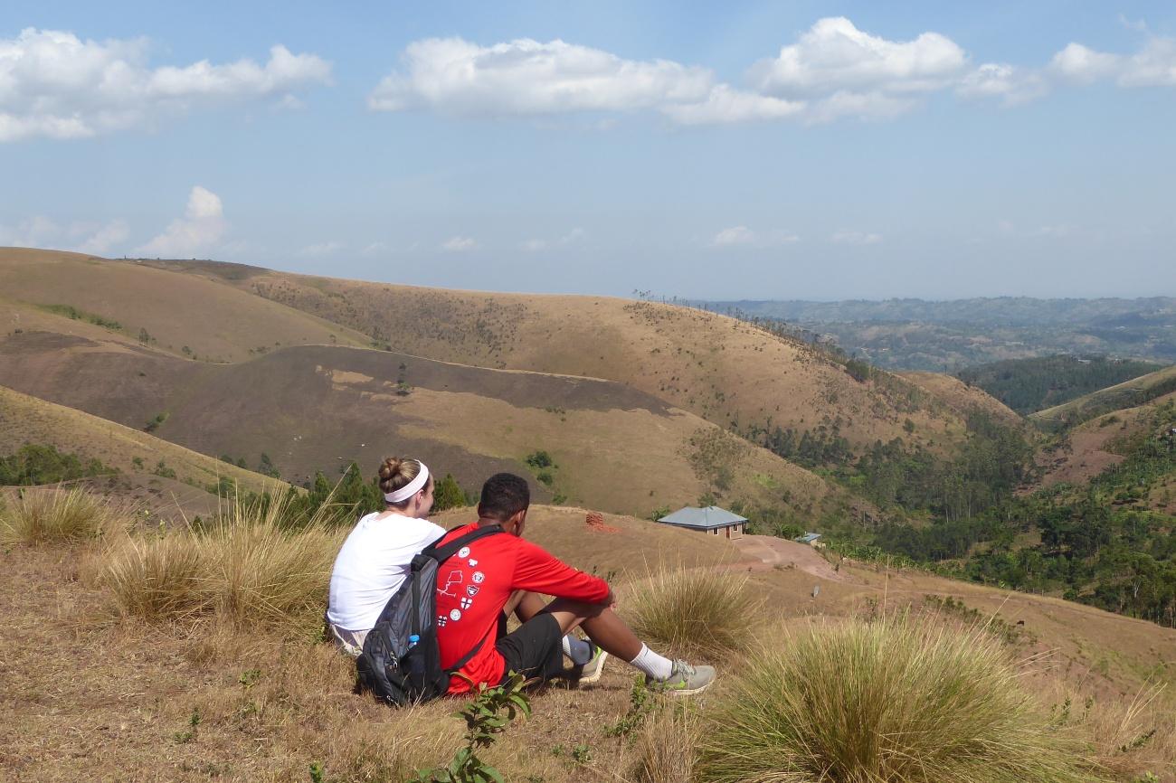 Enjoying views of Rukungiri hills on a hiking trip