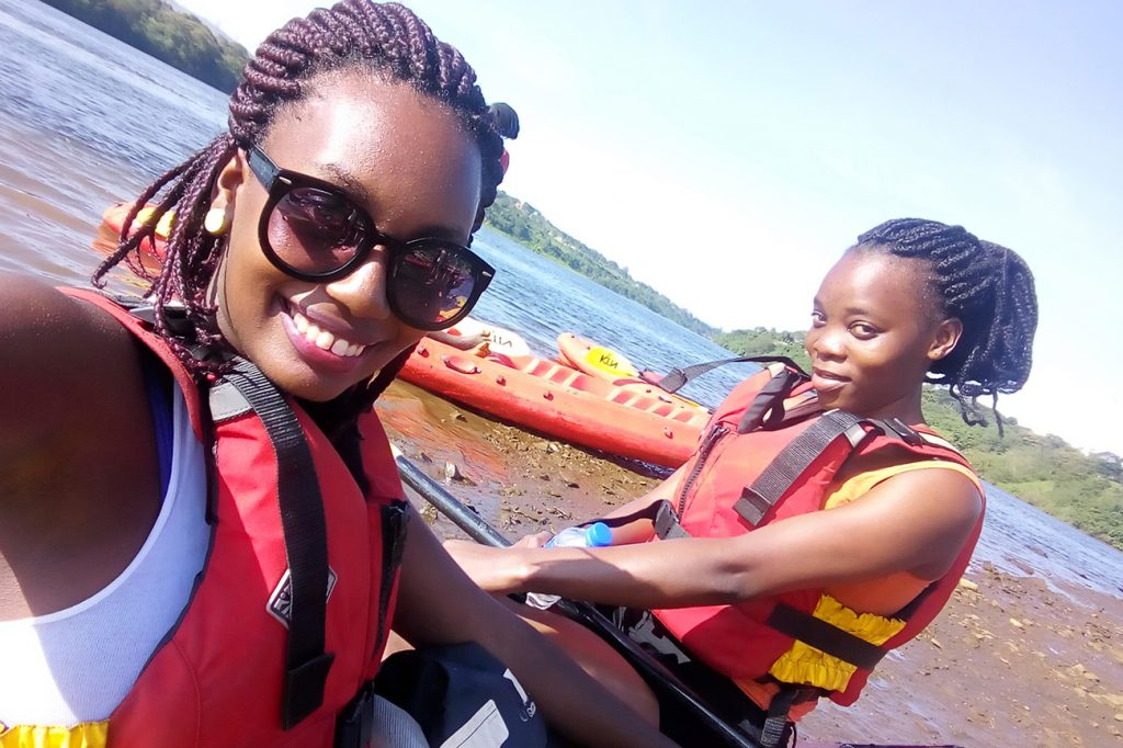 Yvonne & Edith kayaking river Nile