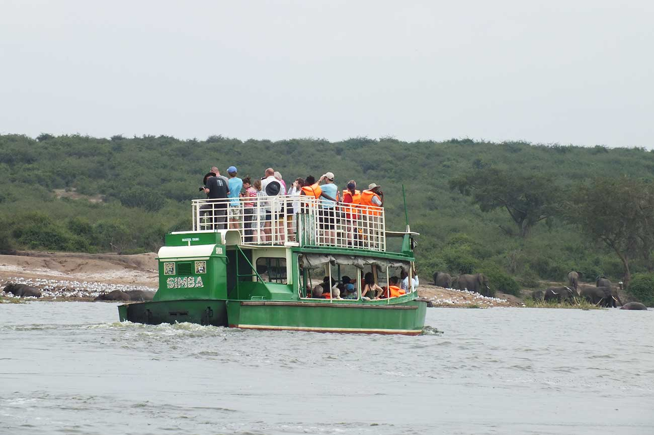 Boat cruise for game viewing Kazinga channel Queen Elizabeth national park, Uganda