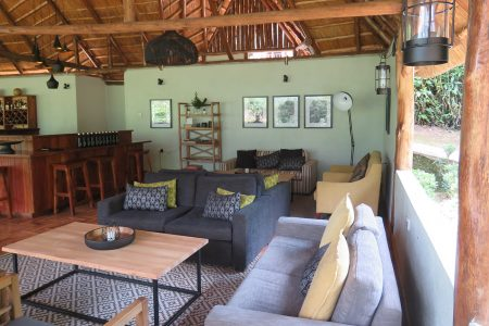 Gorilla Forest Camp lounge, Bwindi Impenetrable National Park, Uganda.