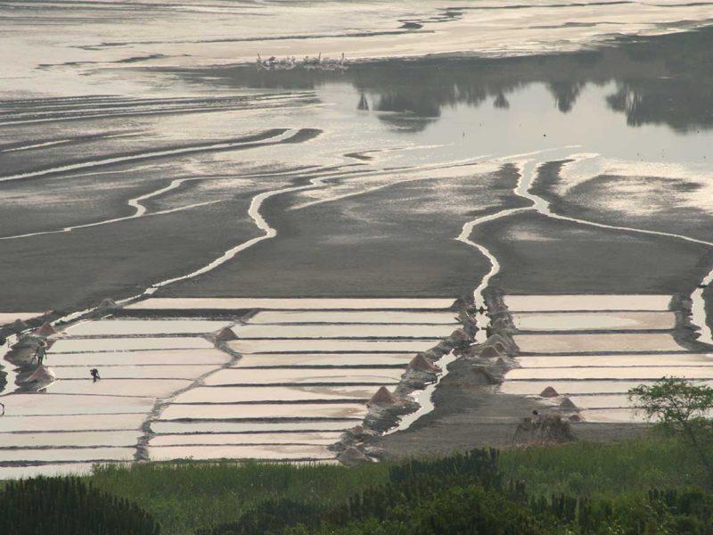 Aerial view Katwe salt lakes QENP Uganda