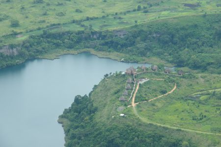 Aerial View of Kyaninga Lodge and Kyaninga crater lake.