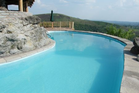 Swimming pool at Kyaninga Lodge - one of our favourite hotels in Uganda.