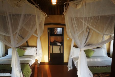 Twin beds at Mazike Lodge Queen Elizabeth National Park, Uganda.nda.