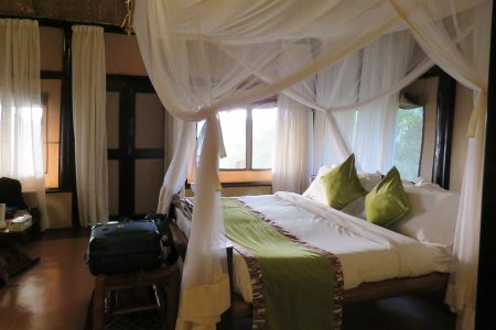 Mazike Lodge double bed, Queen Elizabeth National Park, Uganda.