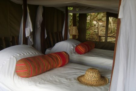 Eco-friendly Mihingo Lodge twin tent near Lake Mburo.