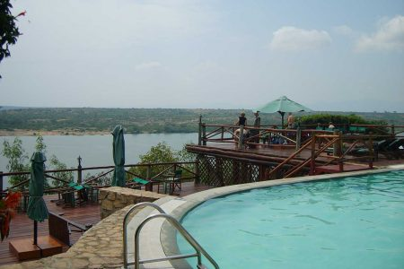 Mweya lodge overlooking Kazinga Channel