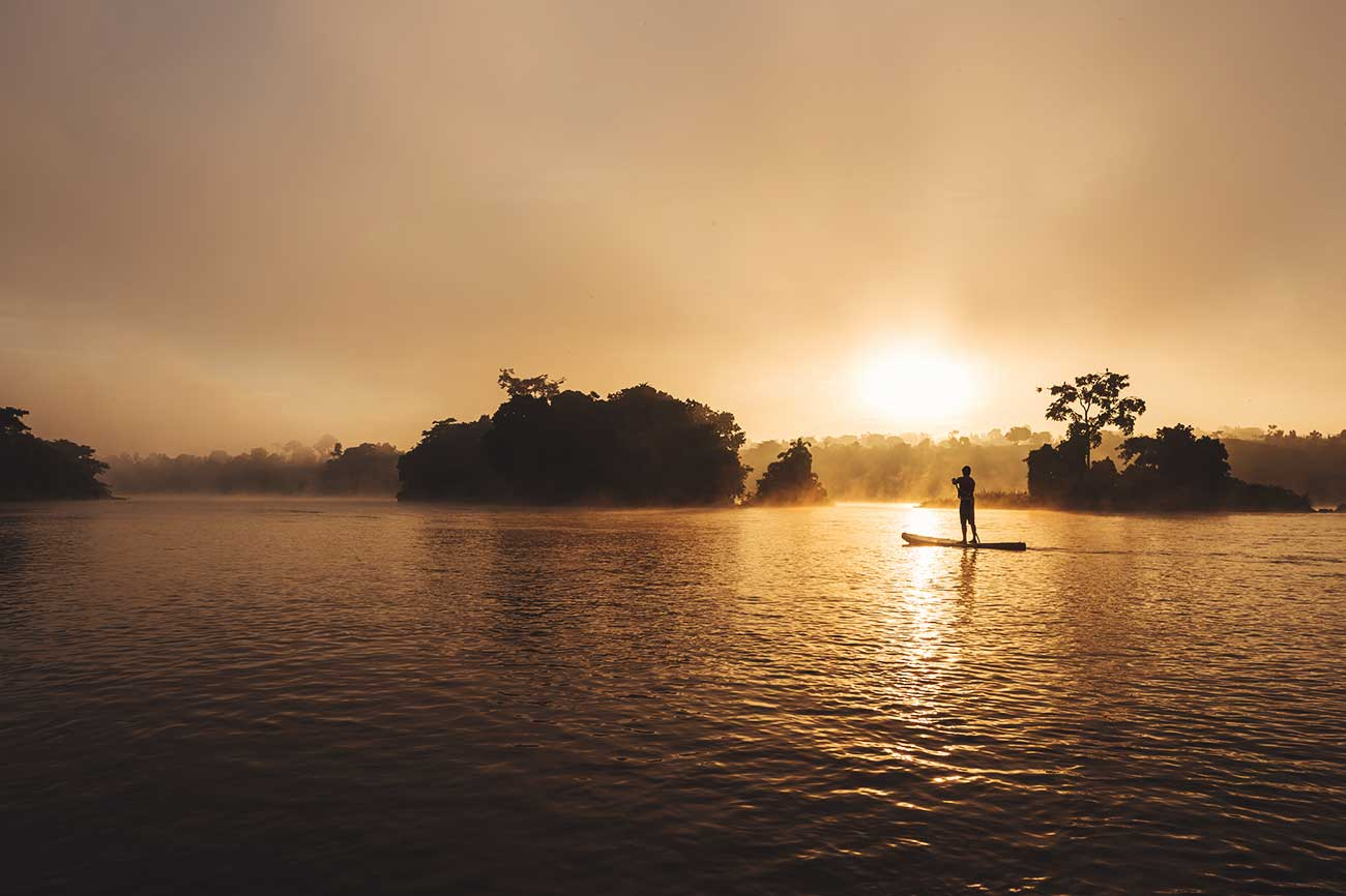 Stand up paddle boarding on River Nile in Uganda