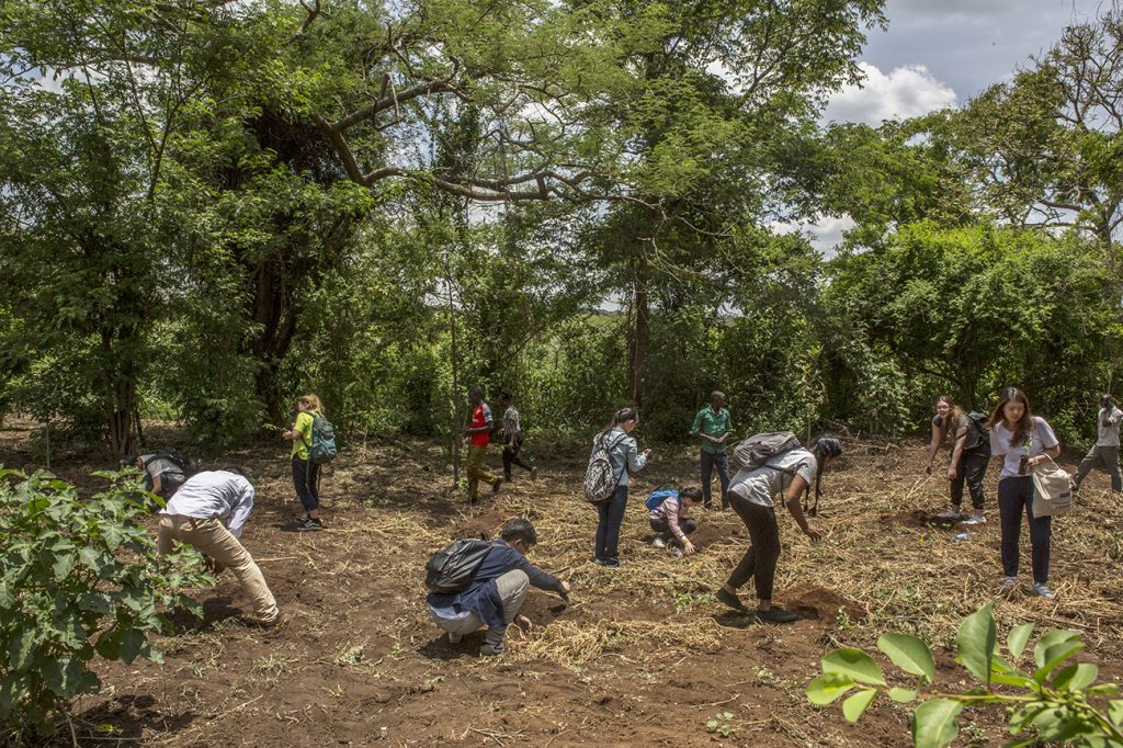 Tree planting on University field course In Uganda