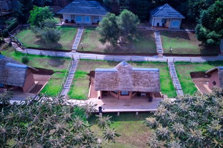 Aerial view of Arcardia Cottages, Lake-Bunyonyi, Uganda