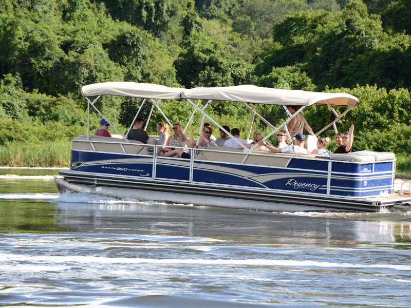 Boat Cruise on the River Nile in Uganda for game viewing.