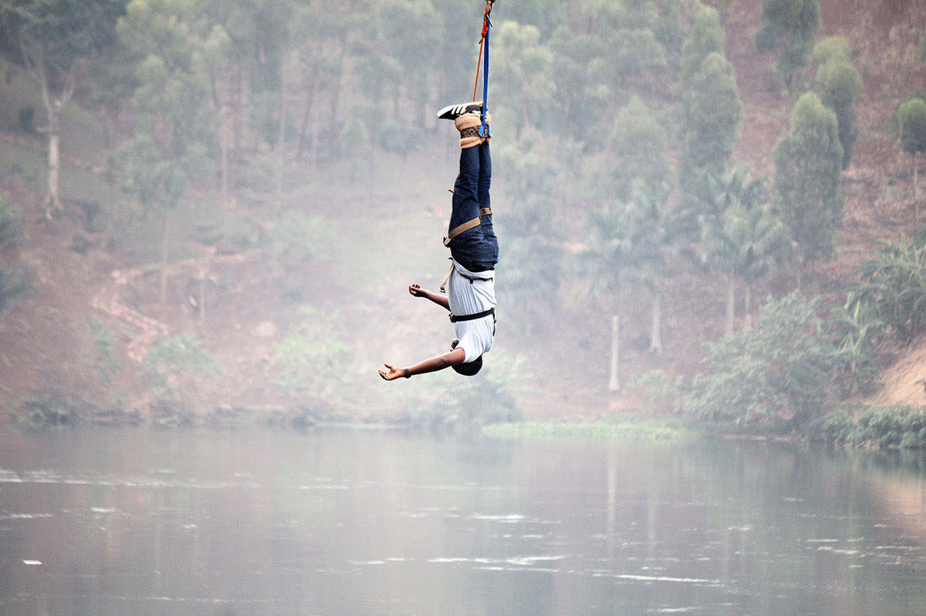 Bungee jump over the river Nile in Uganda.
