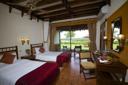 Paraa Safari Lodge twin bed, Murchison Falls national park, Uganda