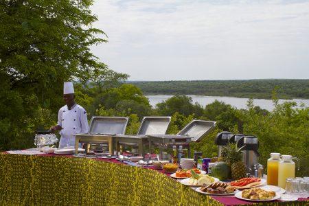 Paraa Safari Lodge breakfast time near the Nile, Murchison Falls national park, Uganda
