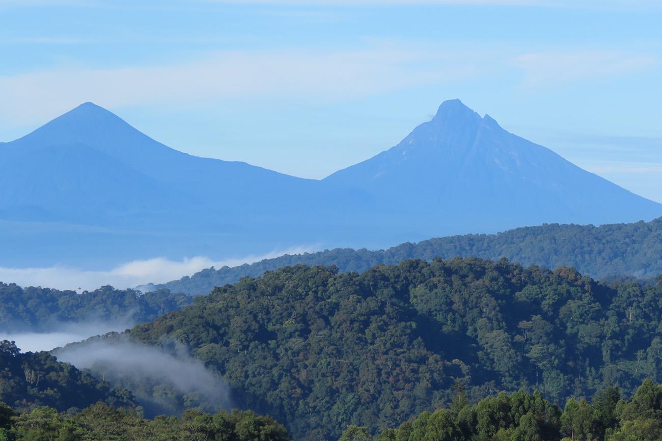 View of Virunga mountains Uganda