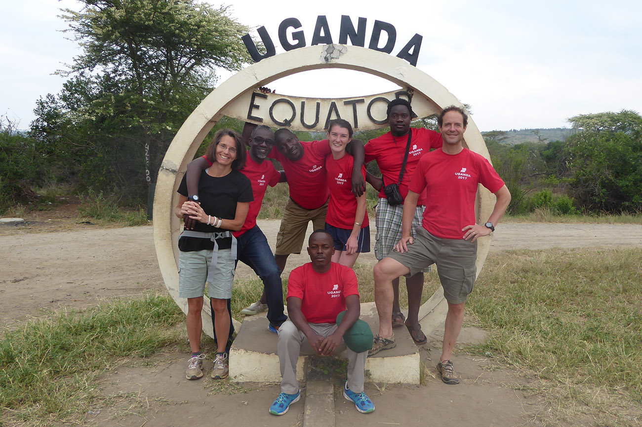 Group photo at the Equator in Uganda.