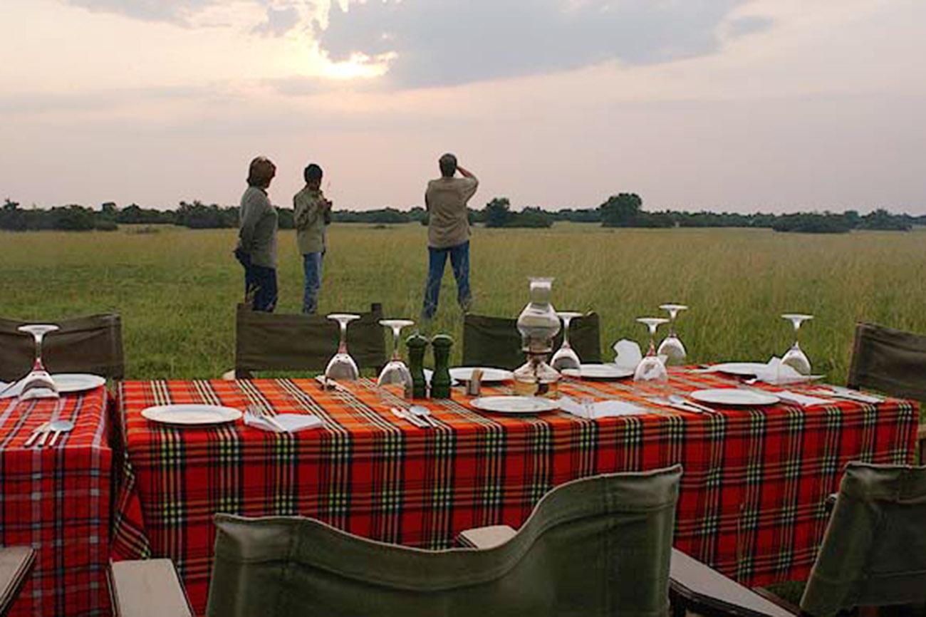 Bush dinner in Uganda.