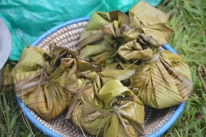 Luwombo prepared in banana leaves
