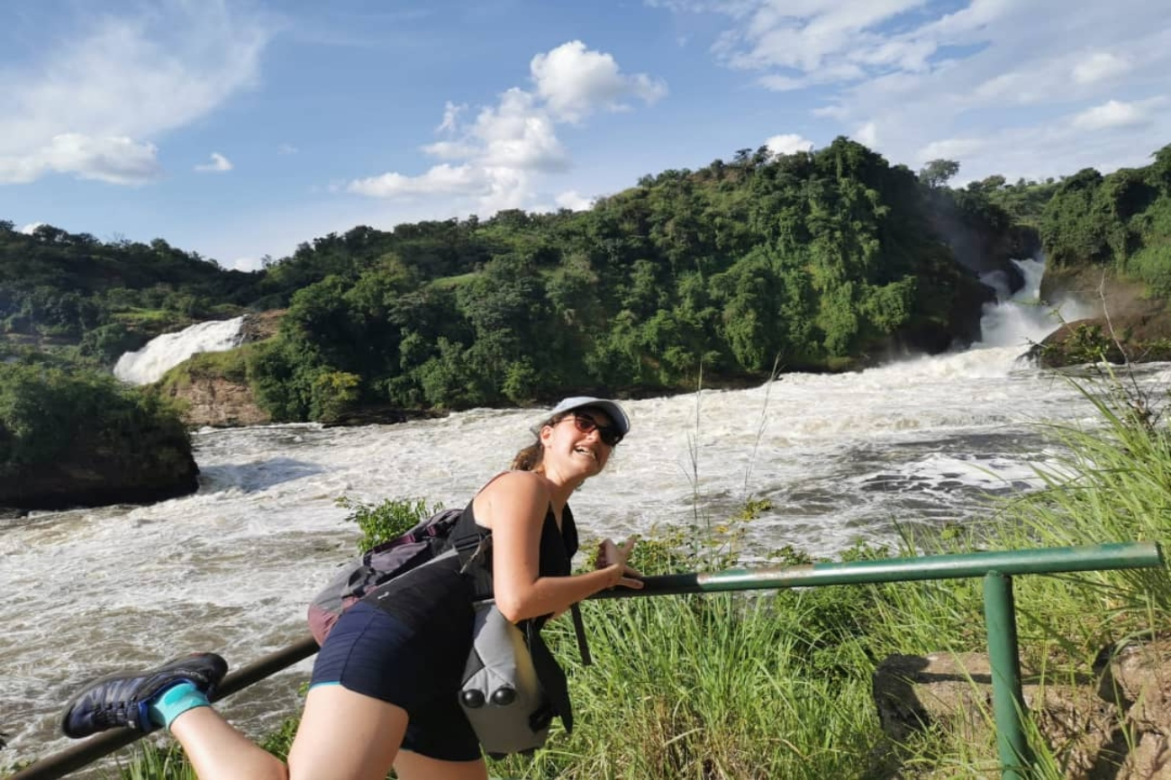 Enjoying photo moments on a hike to the top of Murchison Falls Uganda
