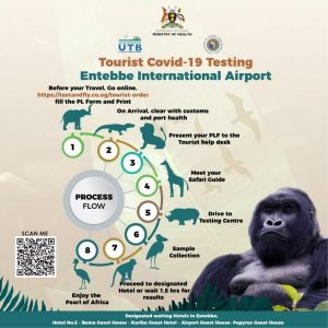 This graphic explains the process of testing on arrival at Entebbe International Airport